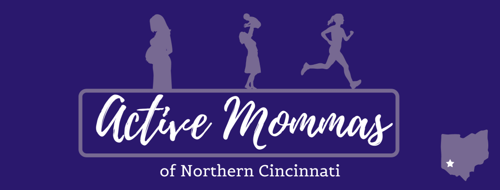 Active Mommas of Northern Cincinnati Logo with pregnant mom, mom with baby, and mom exercising/running