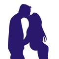 pregnant couple kissing