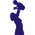 mom lifting baby